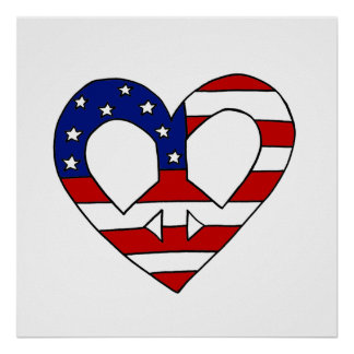 Herz-Friedens-USA-Flaggen-Wahlen Poster