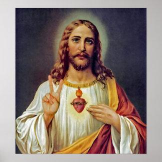 Herz-Friedenszeichen-Porträt Jesuss heiliges Poster