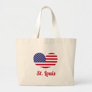 Herz-geformte amerikanische Flagge Liebe-St. Louis Jumbo Stoffbeutel