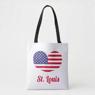 Herz-geformte amerikanische Flagge Liebe-St. Louis Tasche
