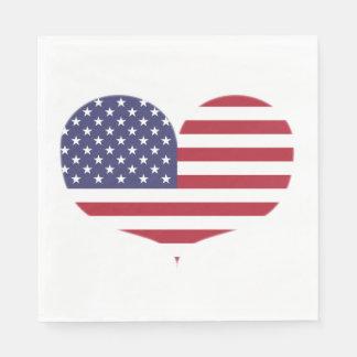 Herz-geformte amerikanische Flagge Serviette