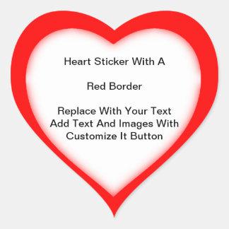 Herz-geformte Aufkleber mit einer roten Grenze in