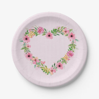 Herz-geformter rosa BlumenKranz Pappteller