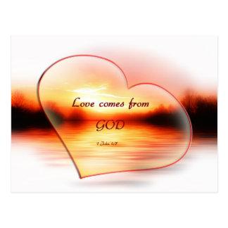 Herz gefüllter Sonnenuntergang christliche Postkarten