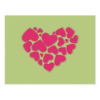 Herz gemacht von den Herzen - Rosa Postkarte