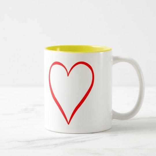 Herz gemalt auf weißem Hintergrund Zweifarbige Tasse