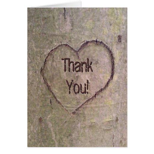 Herz geschnitzt im Baum, kundenspezifische romanti Grußkarte