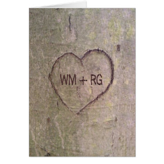 Herz geschnitzt in der Baum-Hochzeits-Einladungs-K