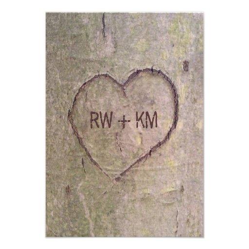 Herz geschnitzt in der Baum UAWG Antwort-Karte Einladungskarte
