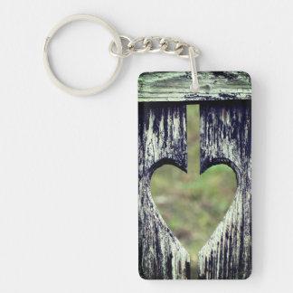 Herz geschnitztes Holz Schlüsselanhänger