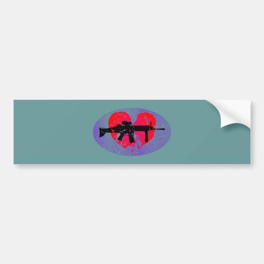 Herz Gewehr heart gun Autoaufkleber