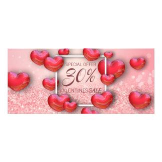 Herz-Glitzer-Rabatt-Karte des Valentines Tagesrote Werbekarte