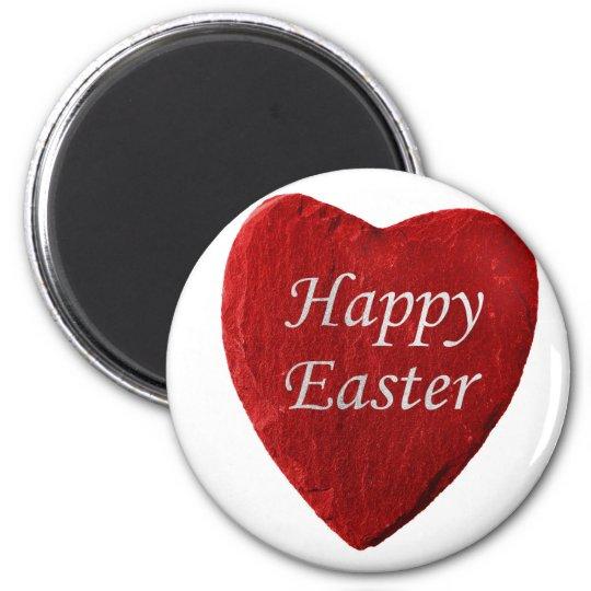 Herz happy Easter Runder Magnet 5,7 Cm