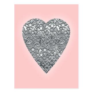 Herz. Hellgraues und mittleres graues Druckmuster Postkarte