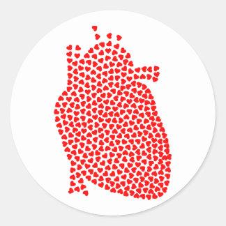 Herz-Herzen Runder Aufkleber
