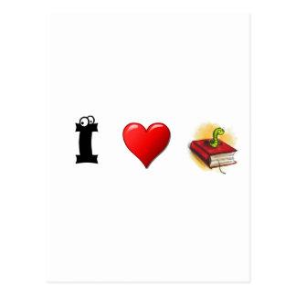 Herz I Bücherwürmer Postkarte