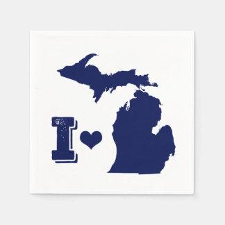 Herz I Michigan-Blau Papierserviette