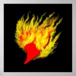 Herz im Flammen Poster