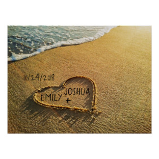 Herz im Sand-Strand Poster