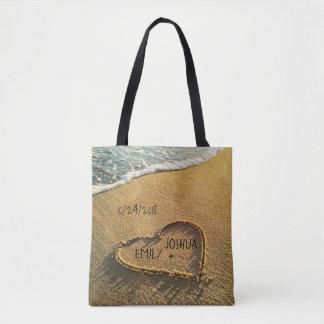 Herz im Sand-tropischen Strand Tasche