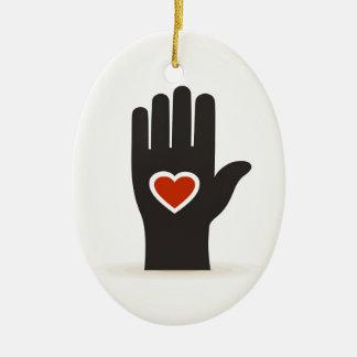 Herz in einer Hand Keramik Ornament