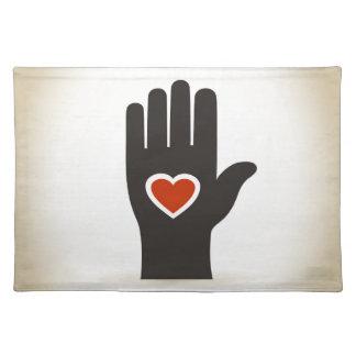 Herz in einer Hand Tischset