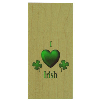 Herz-Iren des Grün-I Holz USB Stick
