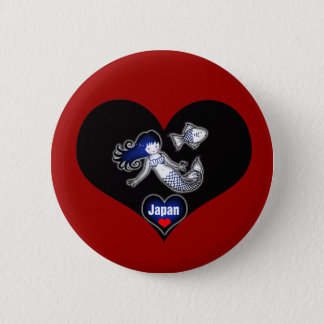 Herz-Japan-Meerjungfrau Pinback Knopf Runder Button 5,7 Cm