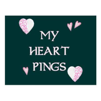Herz-Klingeln-Klingeln Pong Postkarte
