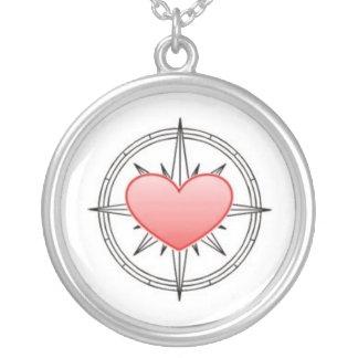 Herz-Kompass-Anhänger Halskette Mit Rundem Anhänger