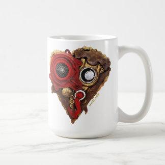 Herz Kunst - zusammengebautes Herz in Rot und in Kaffeetasse
