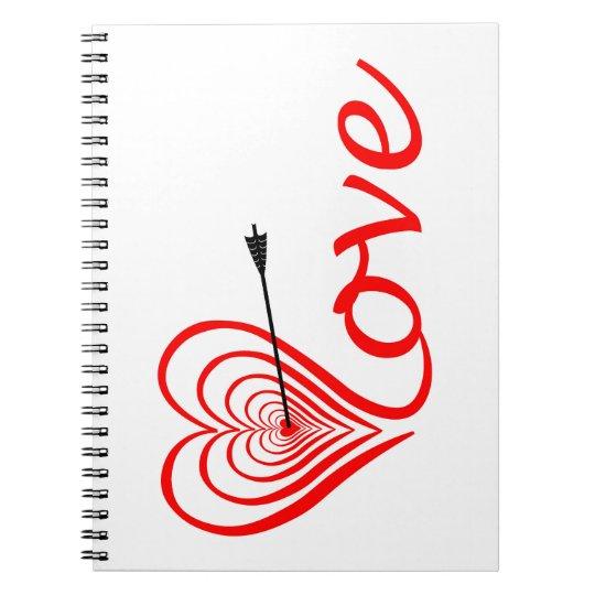Herz Liebe Dartscheibe mit Pfeil Spiral Notizblock