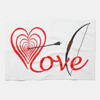 Herz Liebe Dartscheibe mit Pfeil und Bogen Küchentuch