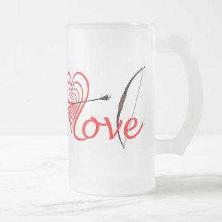 Herz Liebe Dartscheibe mit Pfeil und Bogen Mattglas Bierglas