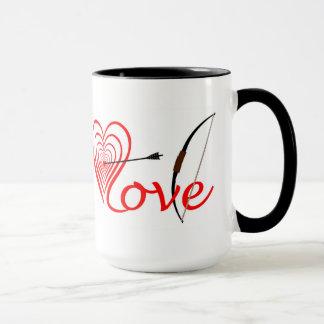 Herz Liebe Dartscheibe mit Pfeil und Bogen Tasse