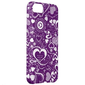 Herz-Liebe kritzelt, Lila-Weißer iPhone 5c Fall iPhone 5C Hülle