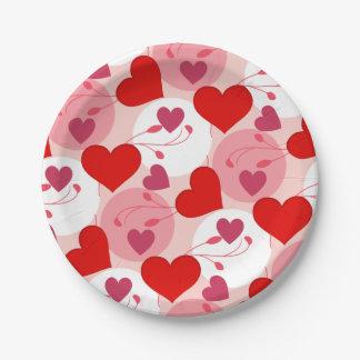 Herz-Liebe-Romance Valentinstag-Rosa weiblich Pappteller