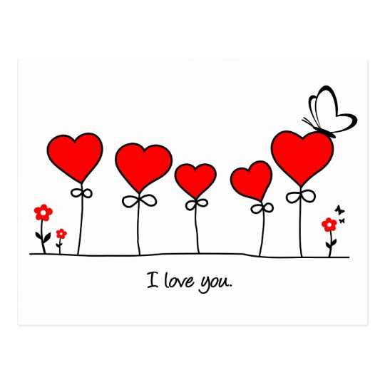 Herz Liebe Schmetterling - i love you Postkarte