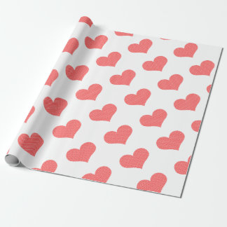 Herz - Liebe - Streifen - Rot und Weiß Geschenkpapier
