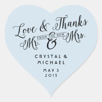 Herz-Liebe und Dank-Gastgeschenk Hochzeit danken Herz-Aufkleber