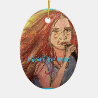 Herz-Live-Musik des Rocker-Mädchens I Ovales Keramik Ornament