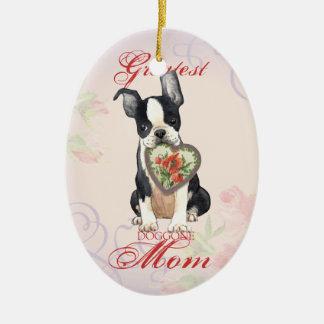 Herz-Mamma Bostons Terrier Keramik Ornament