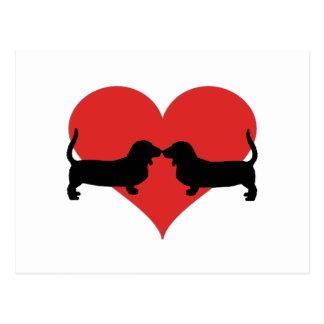 Herz mit Basset Postkarte