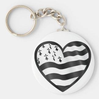 Herz mit Bretin Flagge nach innen Schlüsselanhänger