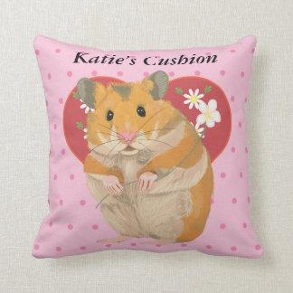 Herz mit Gänseblümchen und Rosa-Punkt-Hamster Kissen
