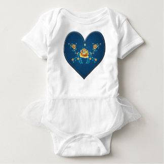 Herz mit gelben Rosen Baby Strampler
