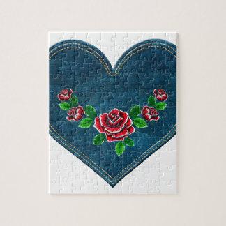 Herz mit Roten Rosen Puzzle