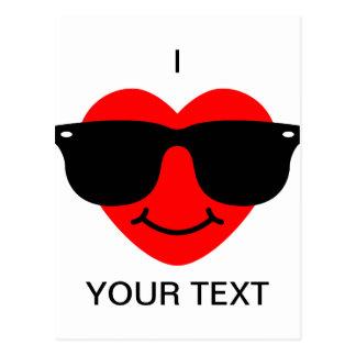 Herz mit Sonnenbrillen Postkarte