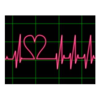 Herz-Monitor-Postkarte Postkarte