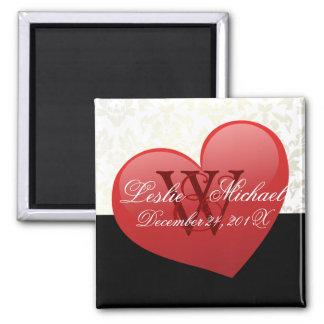 Herz-Monogramm-Damast-Hochzeit, Magneten Quadratischer Magnet